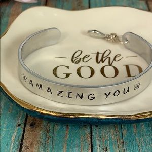Hand stamped Amazing You butterfly cuff bracelet